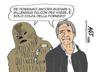 Il risveglio della forza, Fornero, pensioni, Han Solo, vignetta satira