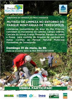 Mutirão recolhe lixo no entorno do Parque Montanhas de Teresópolis
