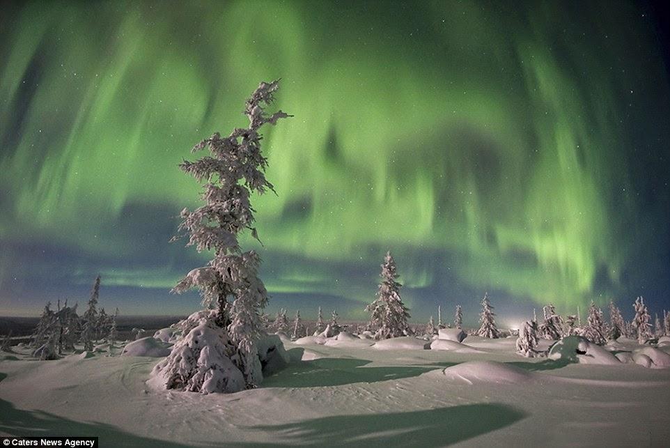 الشفق القطبي والأرض المتجمدة