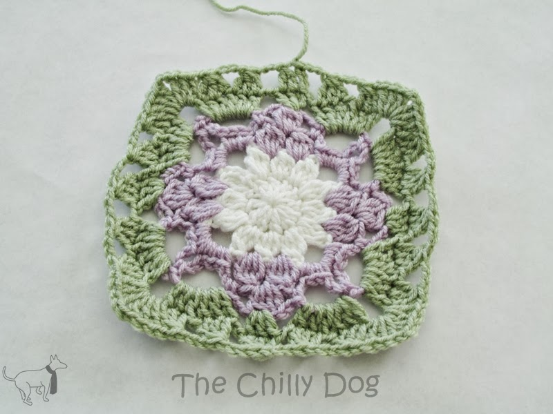 The Columbine Squar Crochet Pattern: Learn how to crochet a square motif resembling a beautiful purpe and white columine.