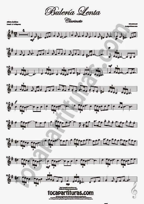 1  Bulería Lenta Partitura de Clarinete Sheet Music for Clarinet Music Score Flamenco