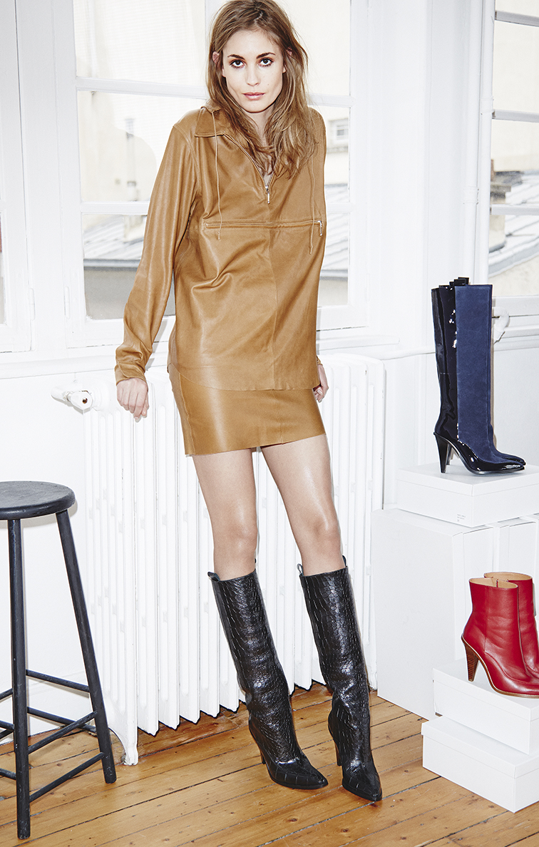 Nadja Bender in the H&M Studios FW 2014 look book, leather tan dress