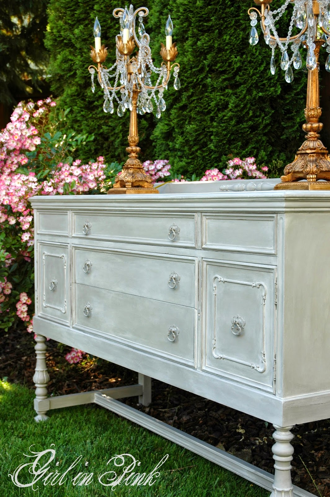 girl in pink simple stately buffet makeover. Black Bedroom Furniture Sets. Home Design Ideas