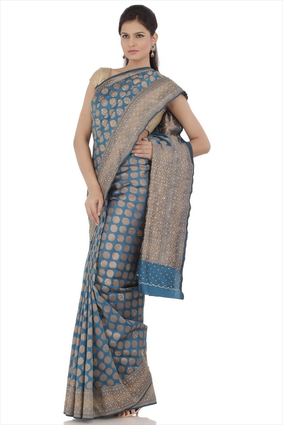 Peacock Blue Art Georgette Banarasi Saree