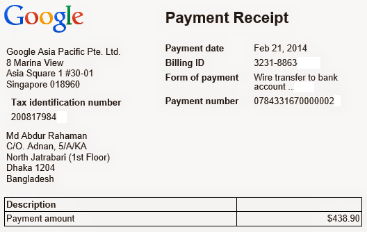 Google AdSense Wire Transfer Receipt