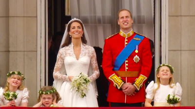 The Duke and Duchess of Cambridge and brides maids looking at the sky. YouTube 2011.