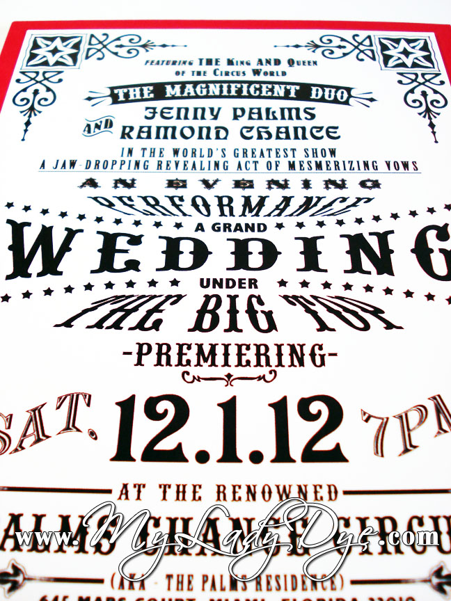 My Lady Dye - Handcrafted Stationery: Vintage Circus Wedding Invitation