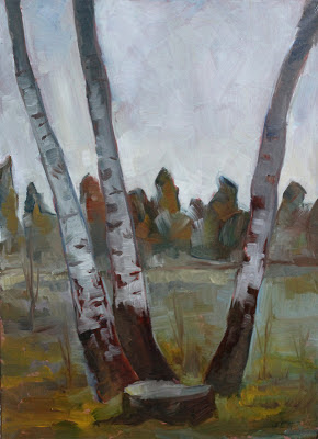 Three birches oil painting by Gregory Avoyan