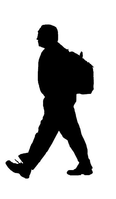 Asian man  with bag at airport silhouette