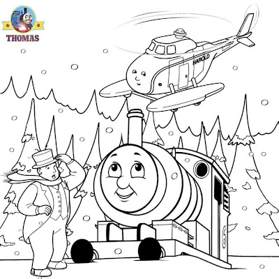 Free kindergarten worksheet Percy the tank engine winter season Christmas coloring page for children