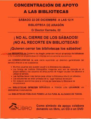 panfleto folletoCONCENTRACION DE APOYO A LAS BIBLIOTECAS  SABADO 22 DE DICIEMBRE A LAS 12 H  BIBLIOTECADEARAGON C/Doctor Cerrada, 22