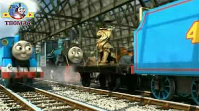 Deluxe Knapford station Thomas and friends Gordon the tank engine coupled to the gold Lion of Sodor