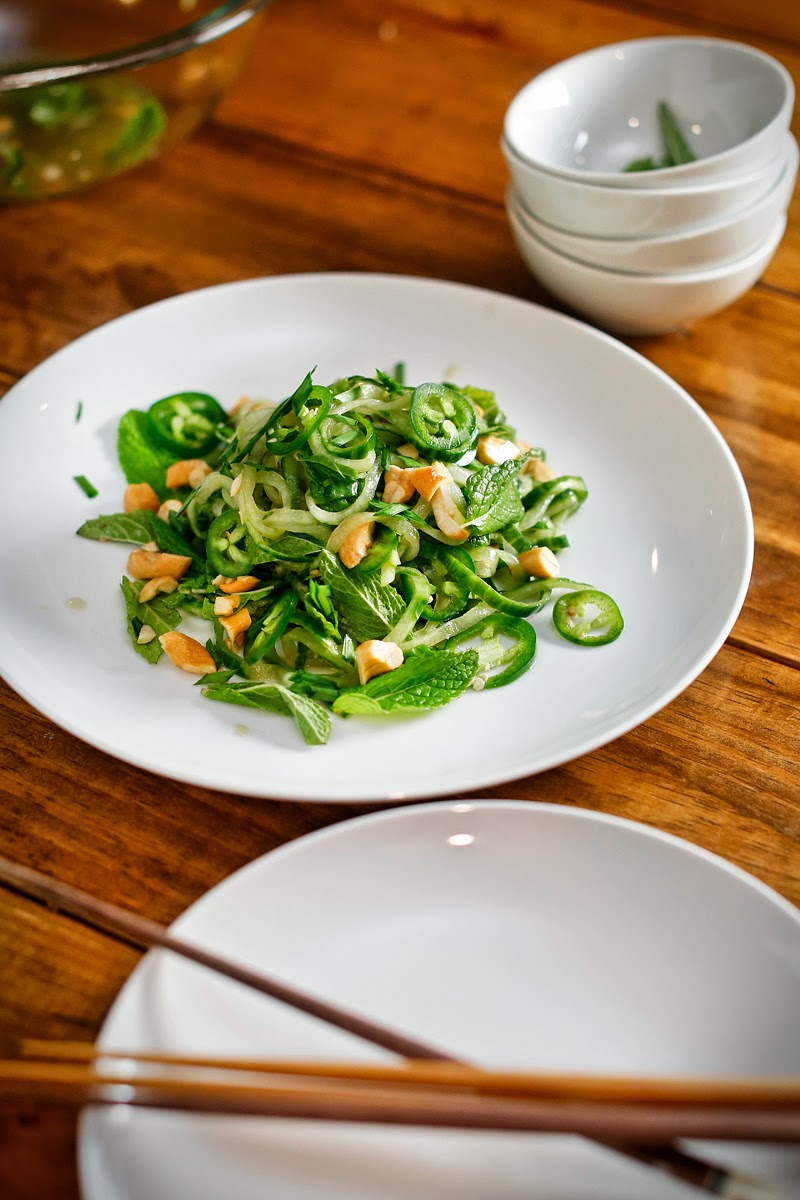 Fresh Cucumber Noodles with Cashews and Mint