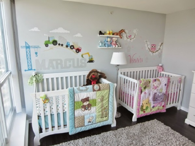 Dormitorios para bebes gemelos o mellizos - Dormitorio para ninas ...