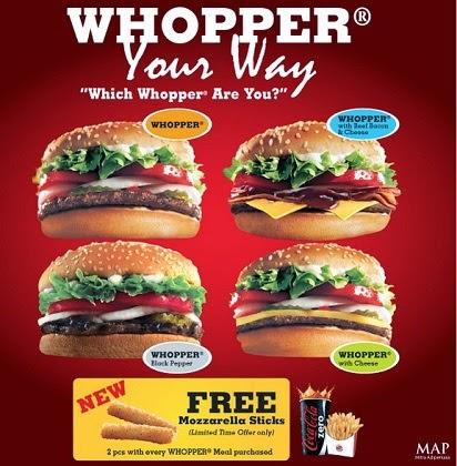 Burger King Menu 2015