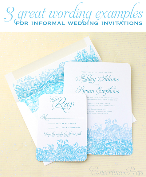 Concertina Press Stationery and Invitations 3 great wording