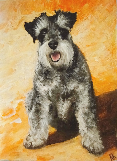Miniature Schnauzer oil painting