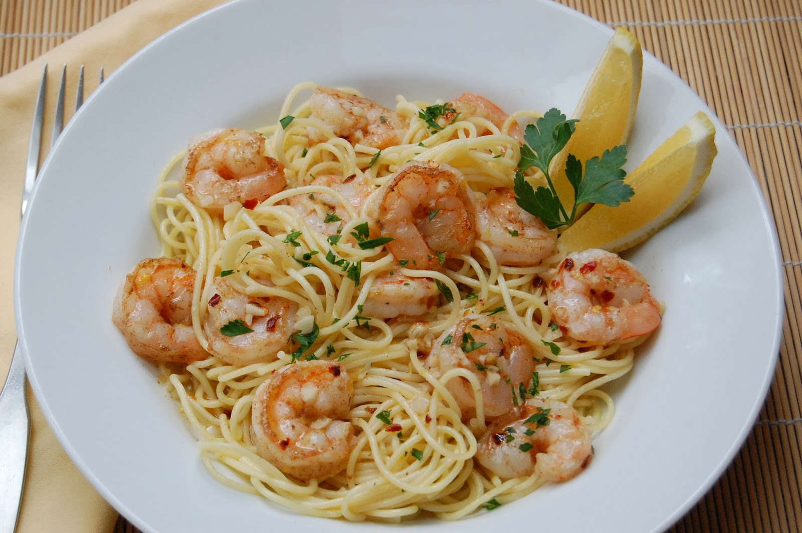kathy kingsley: Garlic Lemon Shrimp with Pasta