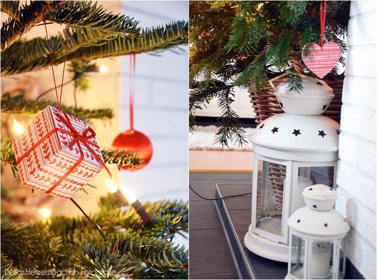 Dekoration Weihanchtsbaum rot weiß Blog