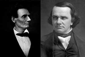 Pictures of Abraham Lincoln and Frederick Douglas.