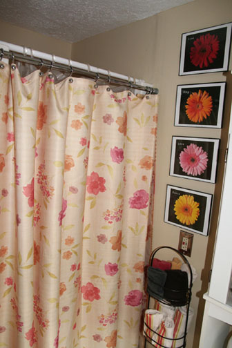 And A Standup Shower With A Reversible Shower Curtain That I Love. Flowers  On One Side, Stripes On The Other. There Are Two Rods, One For The Plastic  Liner ...