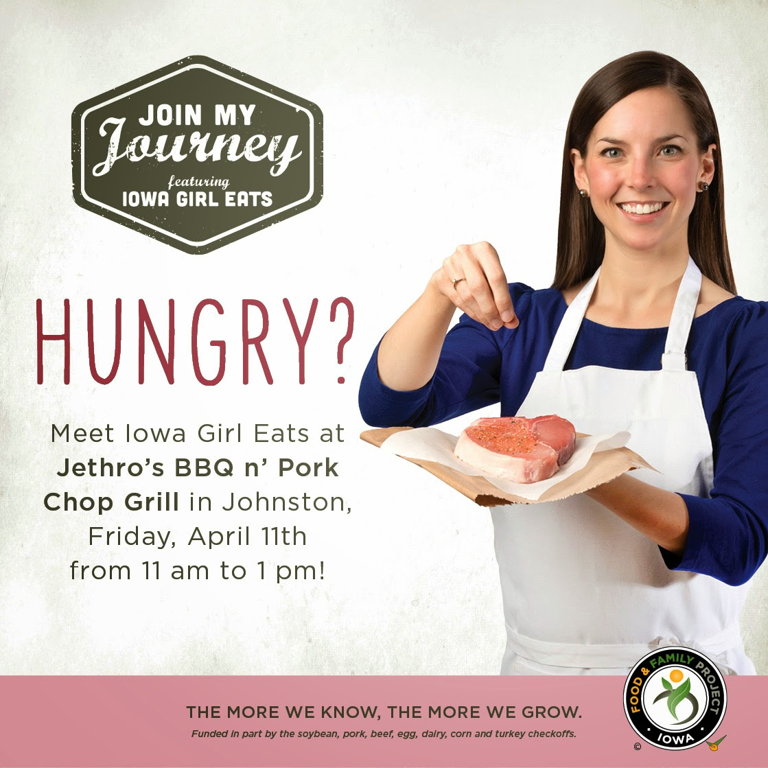 "Iowa Food & Family Project ""Join my Journey"" Meet Iowa Girl Eats at Jethro's in Johnston Friday, April 11th"