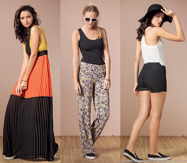 Núcleo Moda primavera verano 2015 vestidos largos plisados, pantalones de verano y shorts verano 2015.