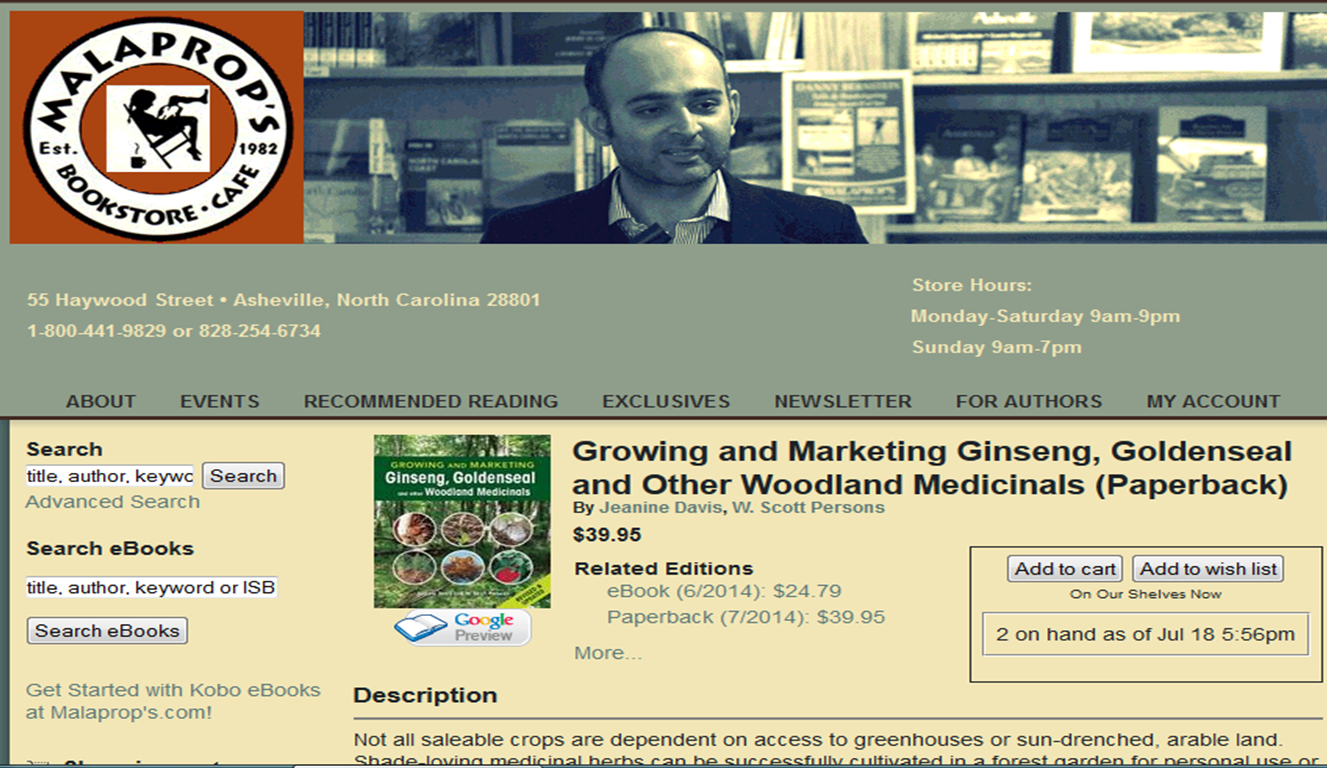 search page for our book on malaprops bookstore website