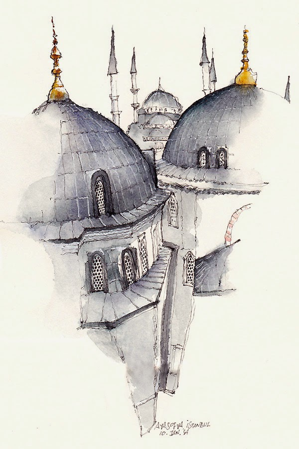 Water colour picture of Church st. Sofia, Instanbul, Turkey