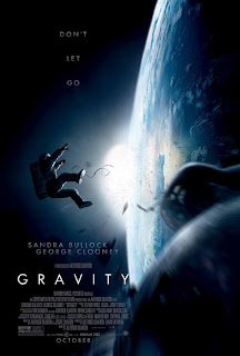 Gravity movie poster, starring George Clooney and Sandra Bullock