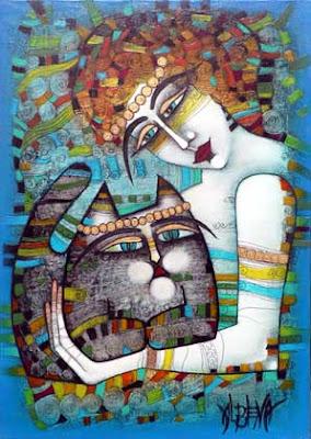 'Joven mujer con gato' Albena Vatoheva