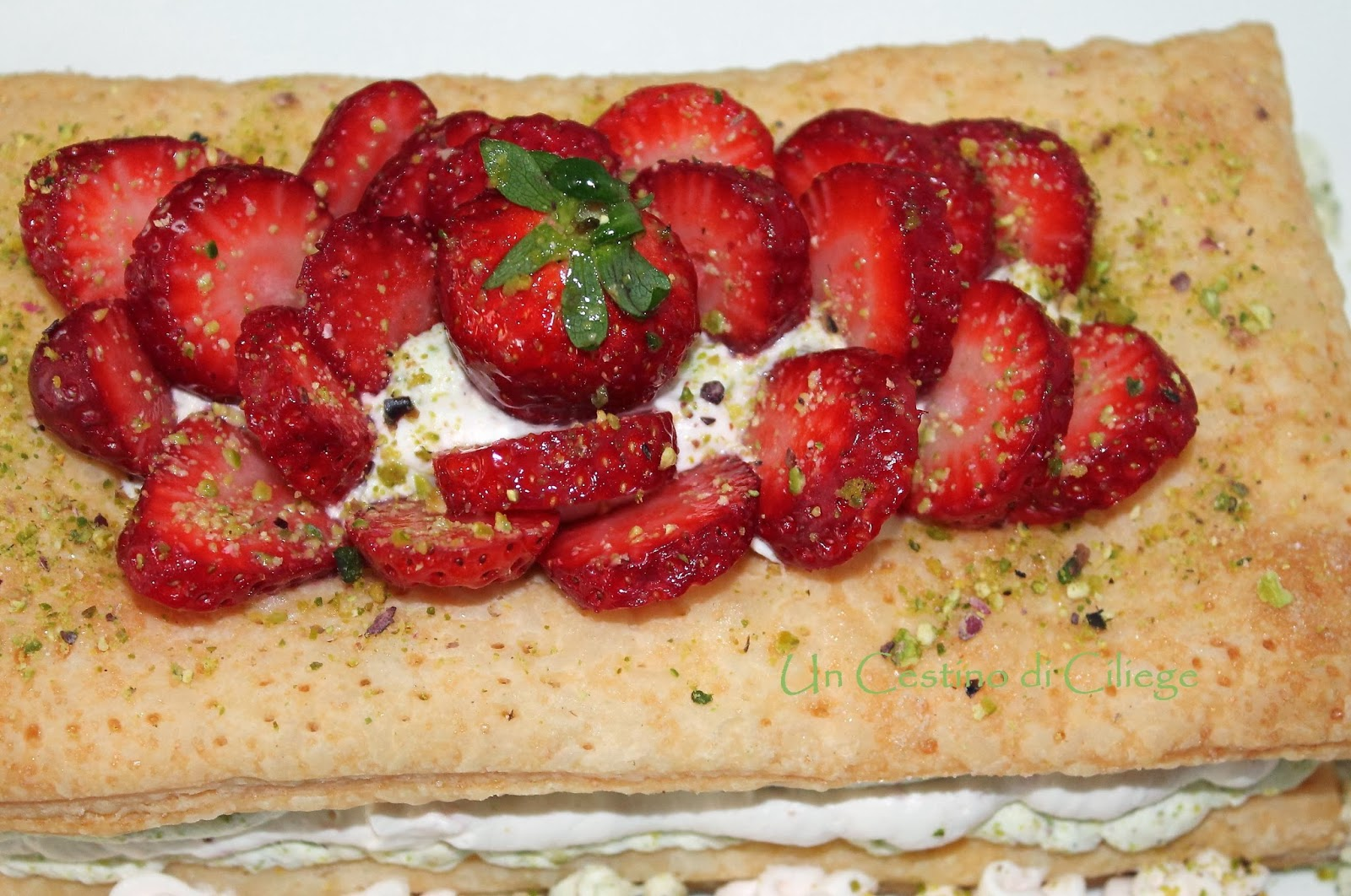 pistachio and strawberry mousse mille fevilles