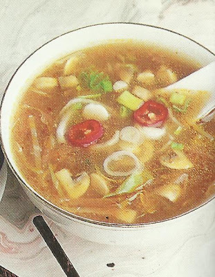 Chicken Hot and Sour Soup with Grilled Chicken Sandwiches