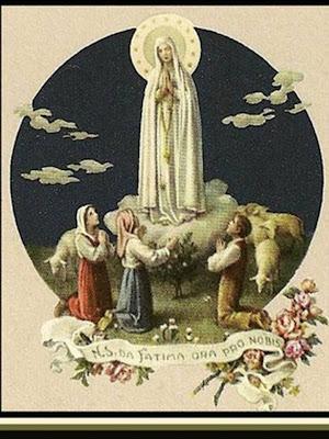 En la Imagen la Aparicion de la Virgen de Fátima a los tres pastorcillos
