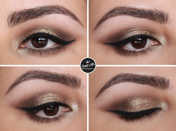 champagne wishes sumptuous olive mac lit cosmetics glitter makeup look