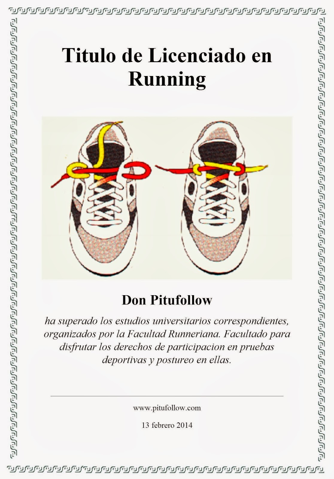 diploma licenciatura running curso corredor pitufollow