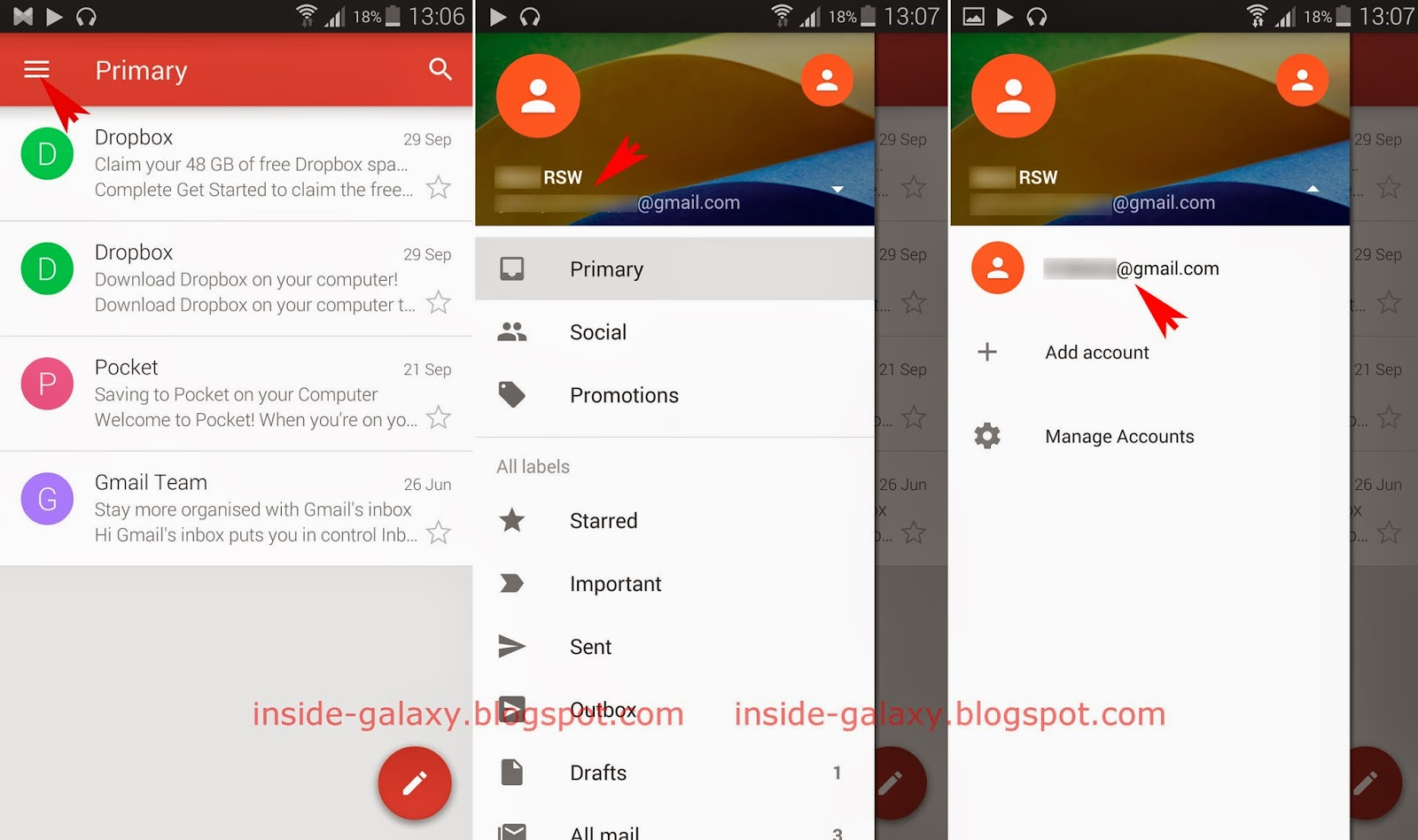 Samsung galaxy s5 how to switch between accounts in gmail for Acc email