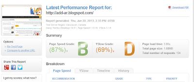 قياس سرعة المدونة او الموقع - add-ar.blogger.com