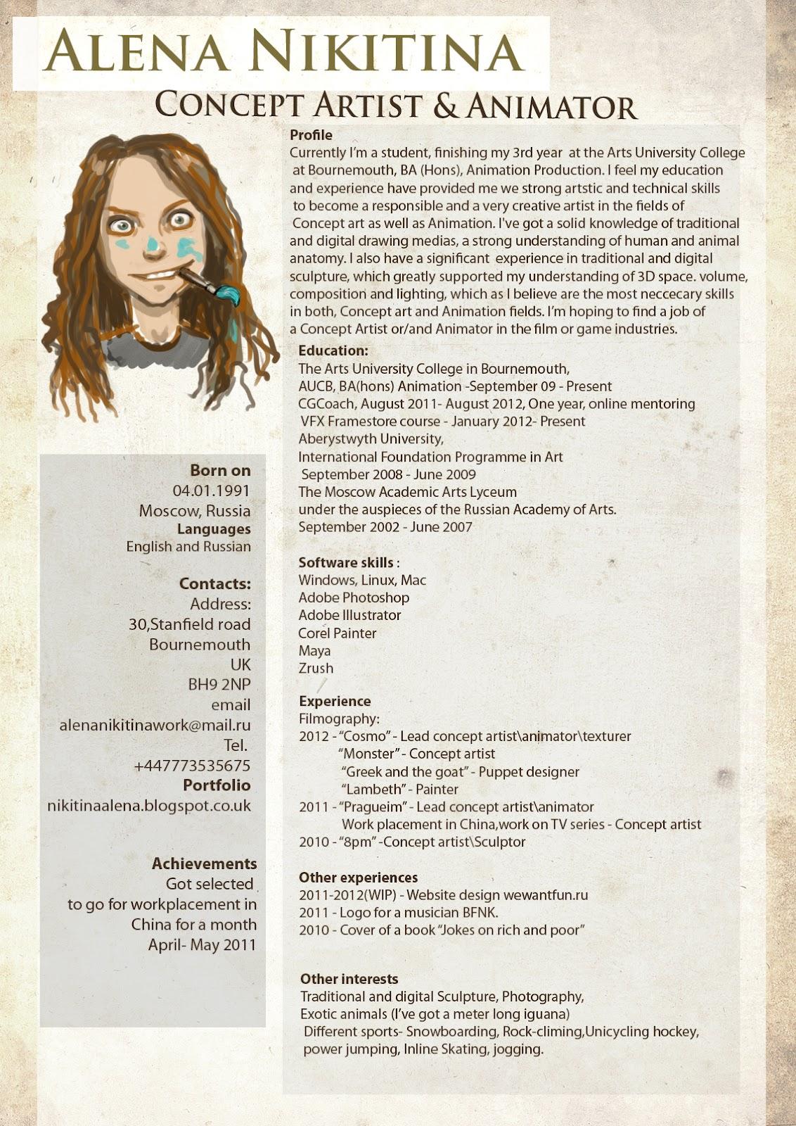 Alena Nikitina: CV & Contacts