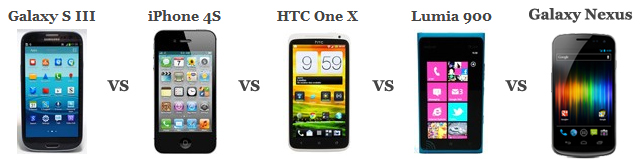 Samsung Galaxy S III vs iPhone 4S vs HTC One X vs Lumia 900 vs Galaxy Nexus comparatif