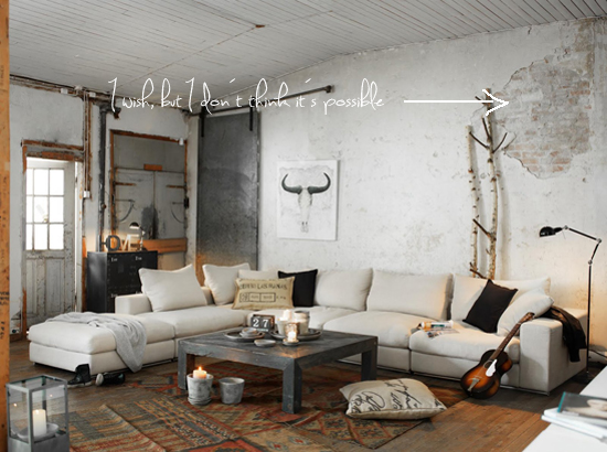 Industrial loft apartment on pinterest industrial loft for Industrial chic living room