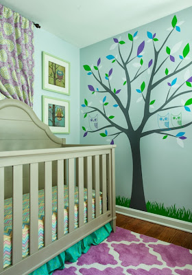 tree wall print makes a fun twist to the rest of the colorful room colors