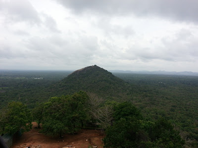 Pidurangala Mountain view from Sigiriya top summit, balancing stone, seismometer, seismic vibrations earthquake sensors, ancient technology