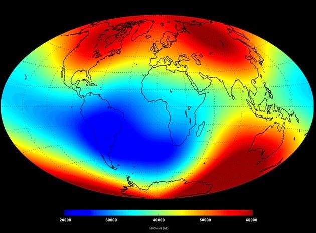 Debilitamiento en el campo magnético terrestre Junio 2014