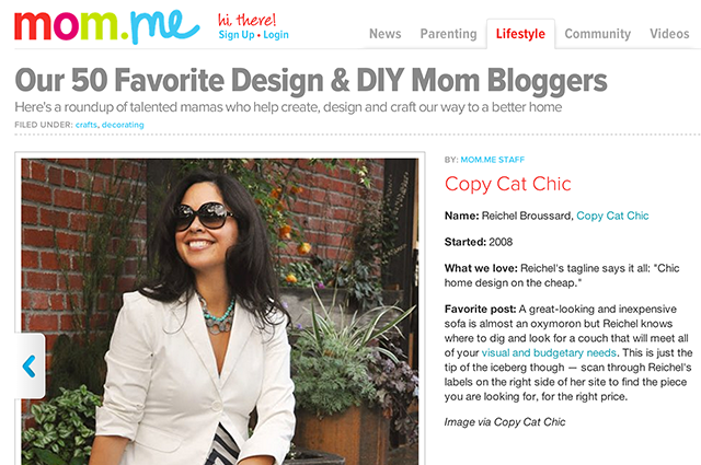 Copy Cat Chic named as one of Mom.me's 50 Favorite Design & DIY Mom Blogs