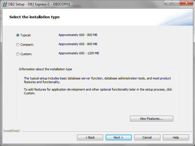 select the instalation type DB2