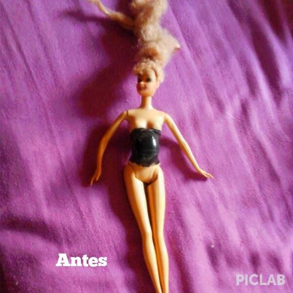 Barbie Gravida antes  e depois