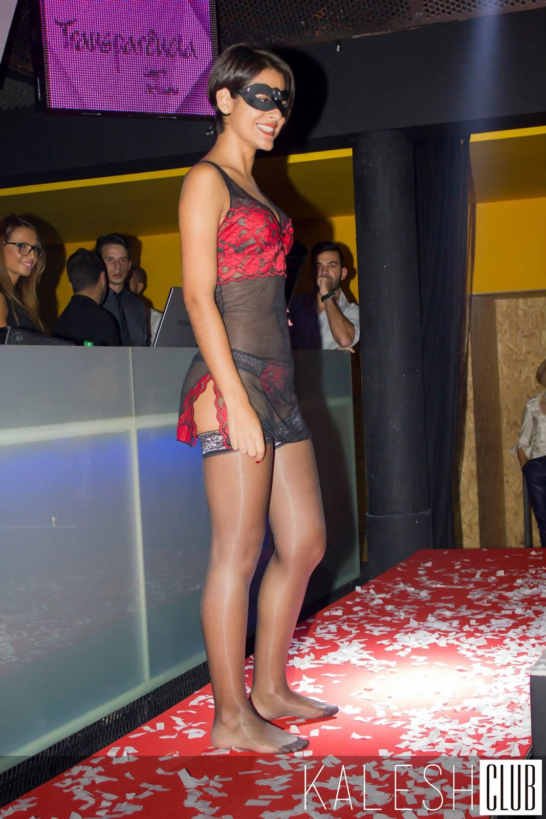 On pantyhose fashion show