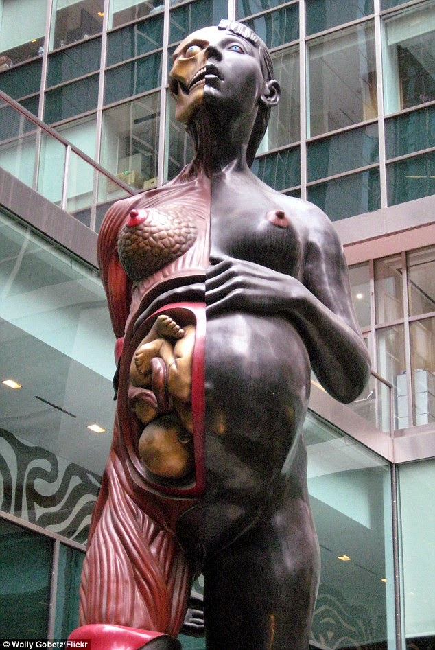 http://www.dailymail.co.uk/news/article-2622344/Art-collector-upsets-neighbors-erecting-33ft-Damien-Hirst-sculpture-pregnant-woman-exposed-fetus-garden.html