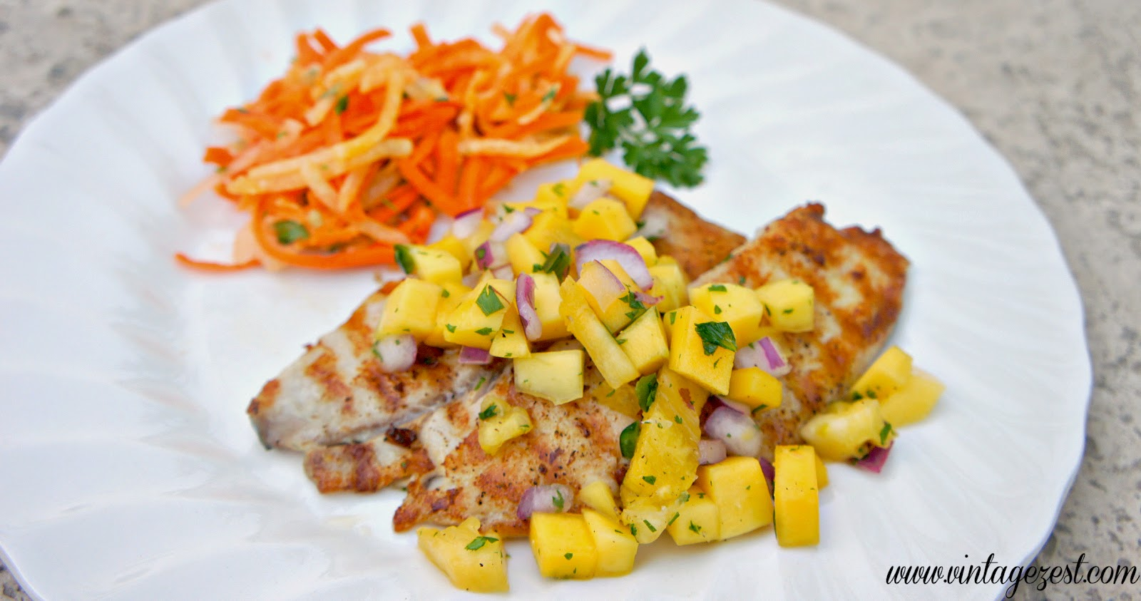 Grilled Tilapia with Spicy Mango Pineapple Salsa on Diane's Vintage ...